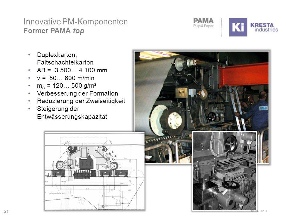 Innovative PM-Komponenten Former PAMA top 21 Duplexkarton, Faltschachtelkarton AB = 3.500… 4.100 mm v = 50… 600 m/min m A = 120… 500 g/m² Verbesserung der Formation Reduzierung der Zweiseitigkeit Steigerung der Entwässerungskapazität 18.04.2013