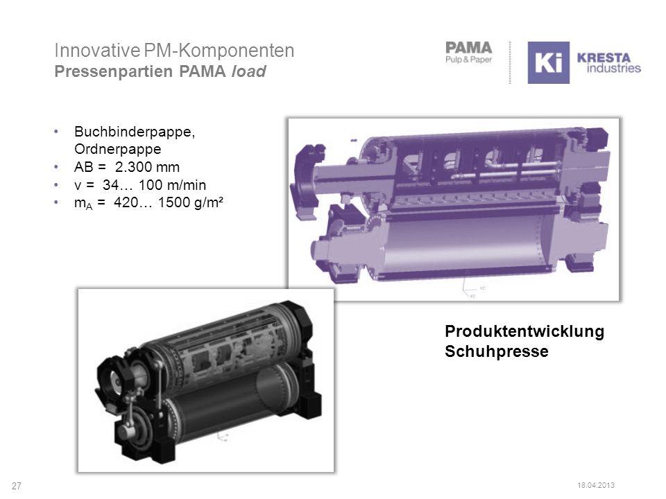 Produktentwicklung Schuhpresse 27 18.04.2013 Innovative PM-Komponenten Pressenpartien PAMA load Buchbinderpappe, Ordnerpappe AB = 2.300 mm v = 34… 100
