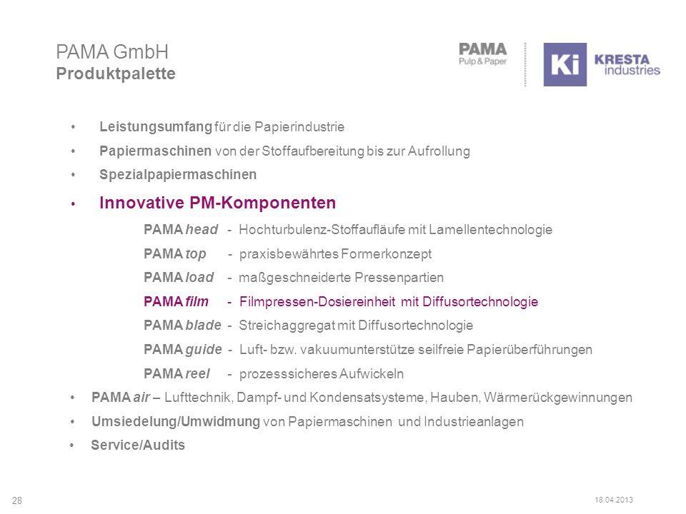 Leistungsumfang für die Papierindustrie Papiermaschinen von der Stoffaufbereitung bis zur Aufrollung Spezialpapiermaschinen Innovative PM-Komponenten