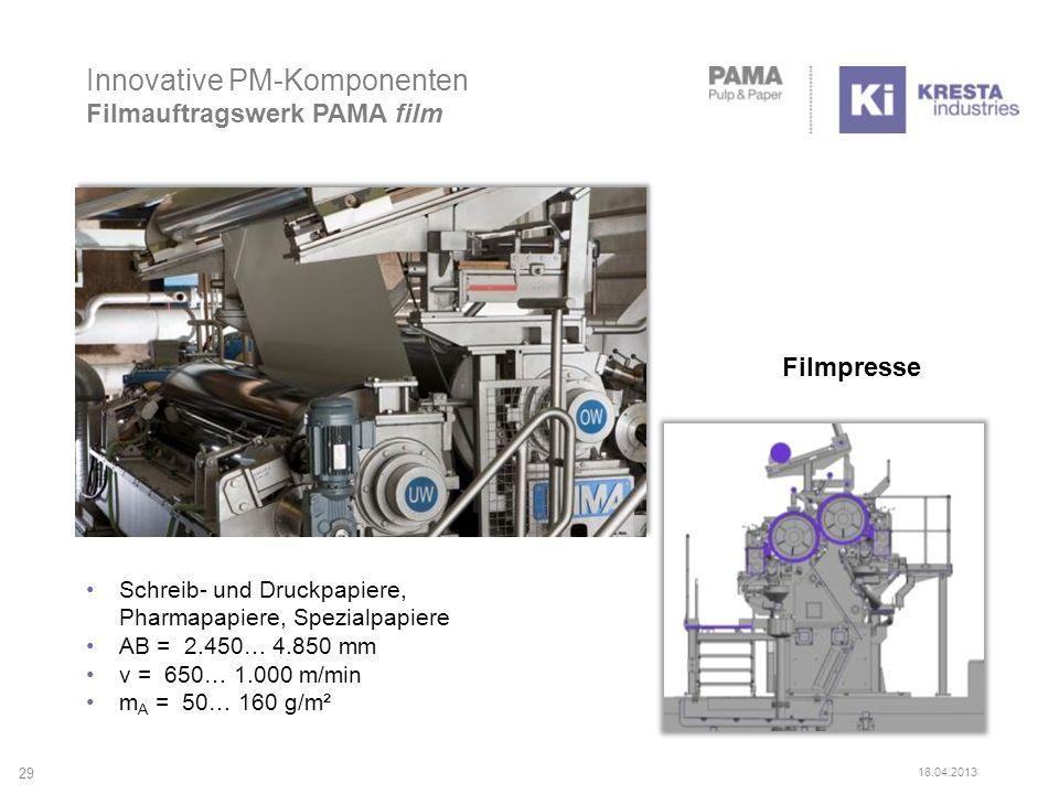 Innovative PM-Komponenten Filmauftragswerk PAMA film Schreib- und Druckpapiere, Pharmapapiere, Spezialpapiere AB = 2.450… 4.850 mm v = 650… 1.000 m/min m A = 50… 160 g/m² Filmpresse 29 18.04.2013