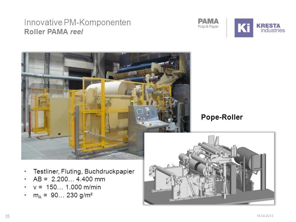 Innovative PM-Komponenten Roller PAMA reel Pope-Roller 35 18.04.2013 Testliner, Fluting, Buchdruckpapier AB = 2.200… 4.400 mm v = 150… 1.000 m/min m A = 90… 230 g/m²