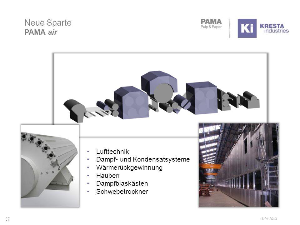 Neue Sparte PAMA air 37 18.04.2013 Lufttechnik Dampf- und Kondensatsysteme Wärmerückgewinnung Hauben Dampfblaskästen Schwebetrockner