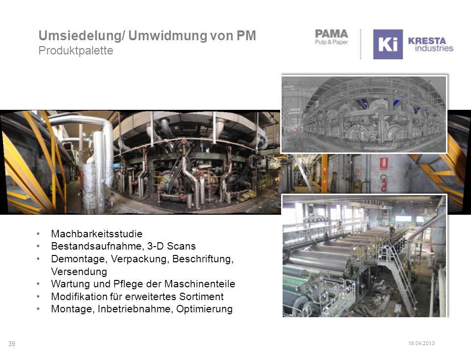 Umsiedelung/ Umwidmung von PM Produktpalette Machbarkeitsstudie Bestandsaufnahme, 3-D Scans Demontage, Verpackung, Beschriftung, Versendung Wartung un