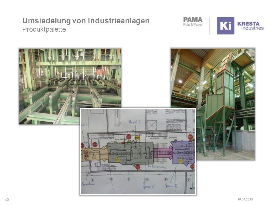 Umsiedelung von Industrieanlagen Produktpalette 40 18.04.2013