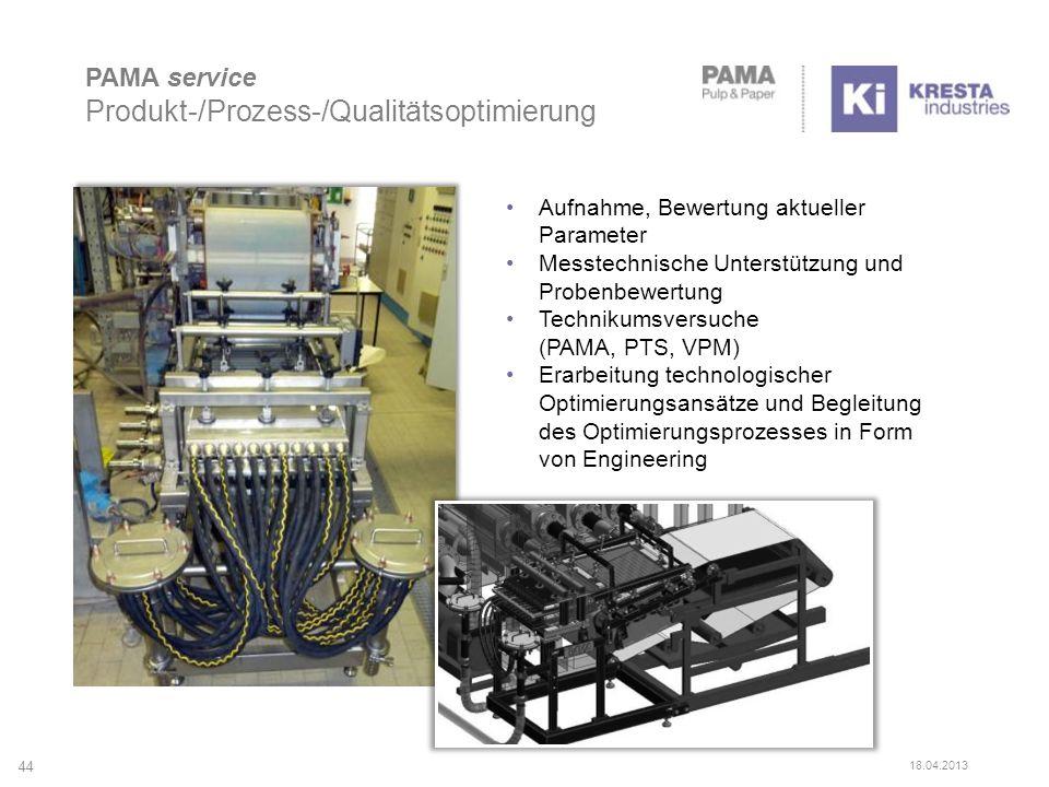 PAMA service Produkt-/Prozess-/Qualitätsoptimierung 44 Aufnahme, Bewertung aktueller Parameter Messtechnische Unterstützung und Probenbewertung Technikumsversuche (PAMA, PTS, VPM) Erarbeitung technologischer Optimierungsansätze und Begleitung des Optimierungsprozesses in Form von Engineering 18.04.2013
