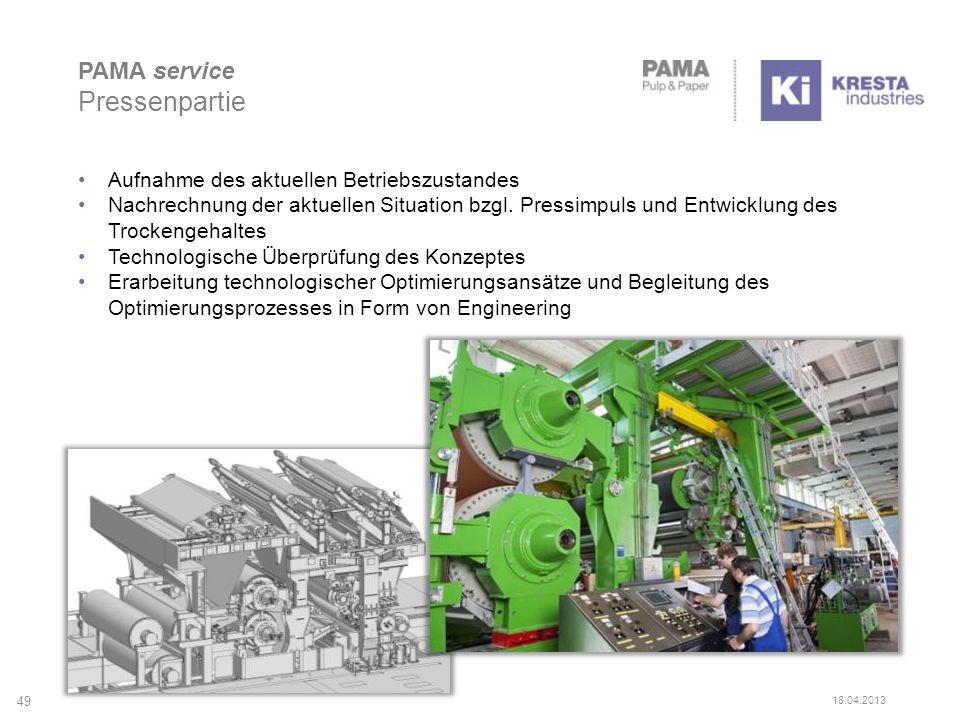 PAMA service Pressenpartie 49 18.04.2013 Aufnahme des aktuellen Betriebszustandes Nachrechnung der aktuellen Situation bzgl. Pressimpuls und Entwicklu