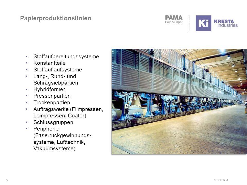 Papierproduktionslinien Stoffaufbereitungssysteme Konstantteile Stoffauflaufsysteme Lang-, Rund- und Schrägsiebpartien Hybridformer Pressenpartien Tro