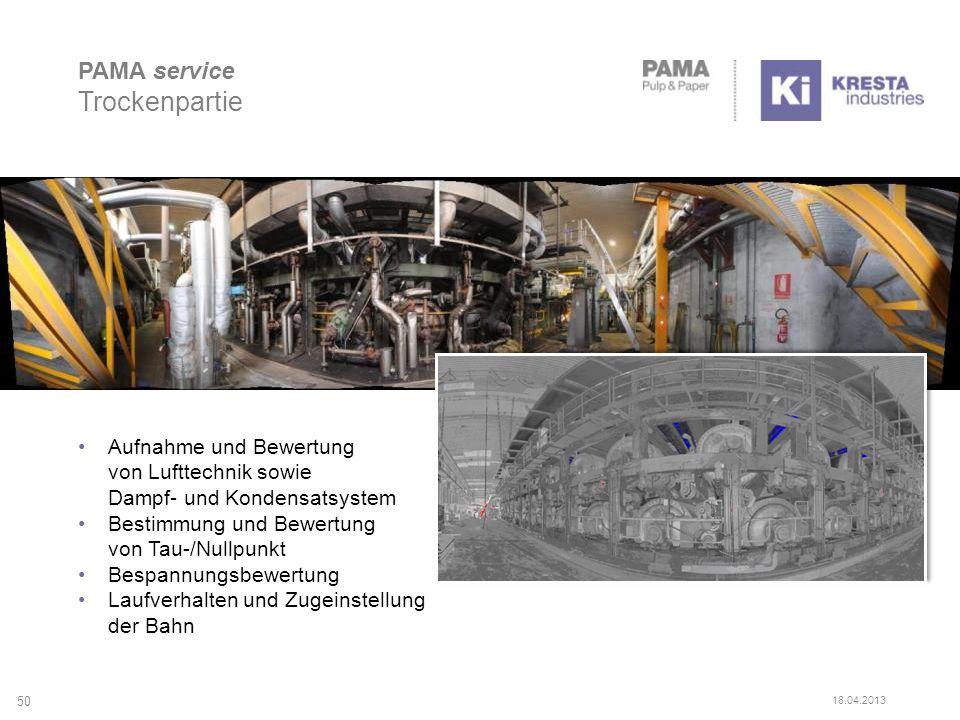 Aufnahme und Bewertung von Lufttechnik sowie Dampf- und Kondensatsystem Bestimmung und Bewertung von Tau-/Nullpunkt Bespannungsbewertung Laufverhalten und Zugeinstellung der Bahn 50 PAMA service Trockenpartie 18.04.2013
