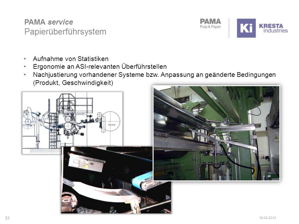 51 PAMA service Papierüberführsystem Aufnahme von Statistiken Ergonomie an ASI-relevanten Überführstellen Nachjustierung vorhandener Systeme bzw. Anpa