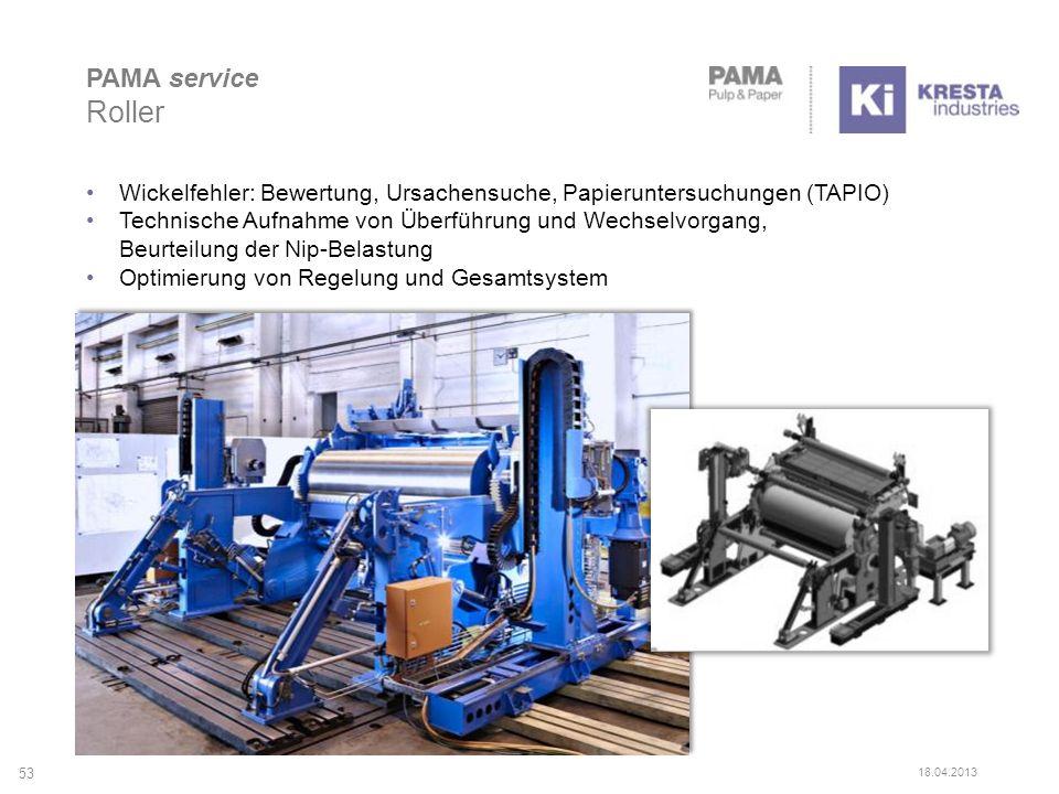 53 PAMA service Roller Wickelfehler: Bewertung, Ursachensuche, Papieruntersuchungen (TAPIO) Technische Aufnahme von Überführung und Wechselvorgang, Be