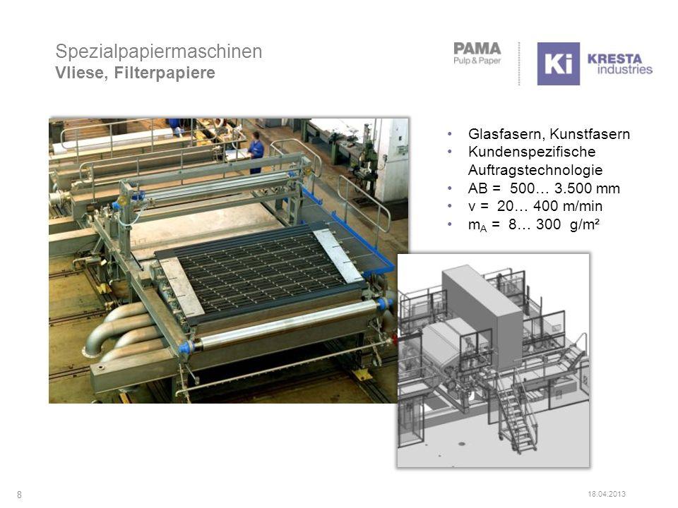 Spezialpapiermaschinen Vliese, Filterpapiere 8 18.04.2013 Glasfasern, Kunstfasern Kundenspezifische Auftragstechnologie AB = 500… 3.500 mm v = 20… 400 m/min m A = 8… 300 g/m²