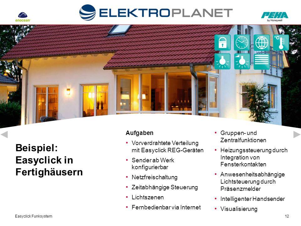 Easyclick Funksystem12 Aufgaben Vorverdrahtete Verteilung mit Easyclick REG-Geräten Sender ab Werk konfigurierbar Netzfreischaltung Zeitabhängige Steu