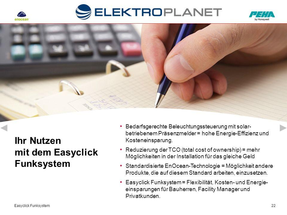 Easyclick Funksystem22 Bedarfsgerechte Beleuchtungssteuerung mit solar- betriebenem Präsenzmelder = hohe Energie-Effizienz und Kosteneinsparung. Reduz