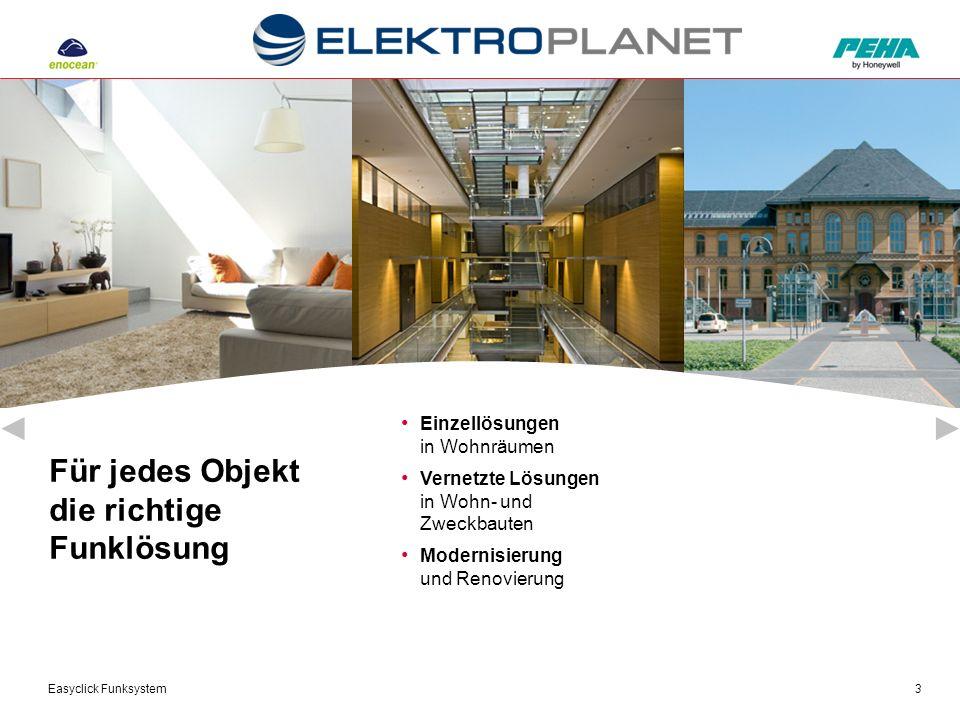 Easyclick Funksystem3 Für jedes Objekt die richtige Funklösung Einzellösungen in Wohnräumen Vernetzte Lösungen in Wohn- und Zweckbauten Modernisierung