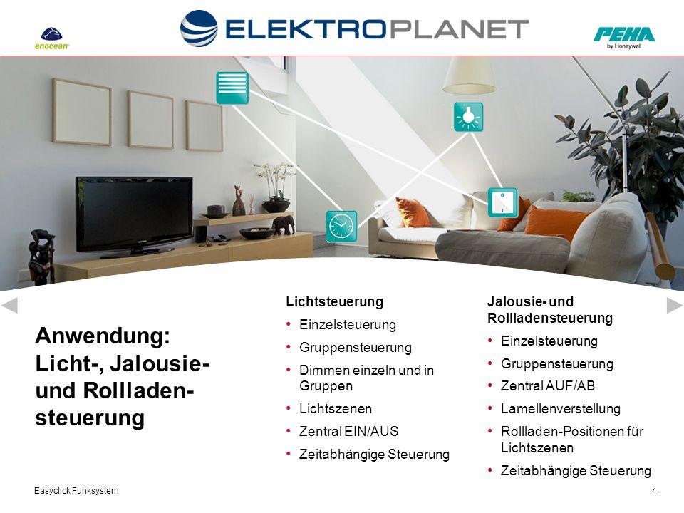 Easyclick Funksystem4 Anwendung: Licht-, Jalousie- und Rollladen- steuerung Jalousie- und Rollladensteuerung Einzelsteuerung Gruppensteuerung Zentral