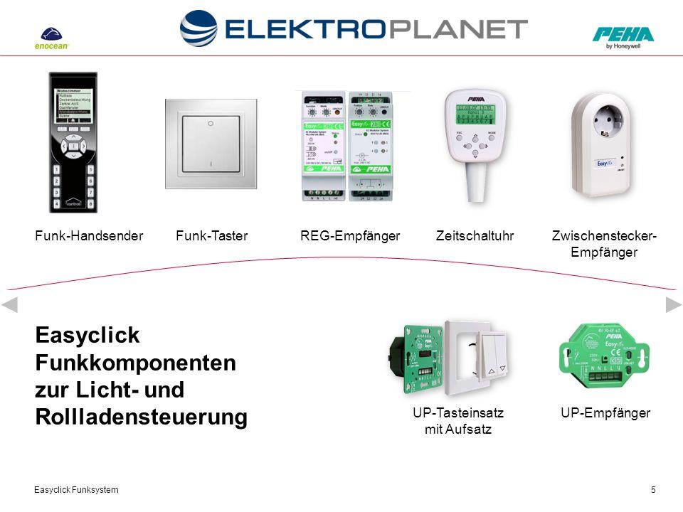Easyclick Funksystem6 Anwendung: Raumtemperatur- steuerung Zentrale Steuerung der Funkstellantriebe durch Easyclick REG-Module Raumtemperatursteuerung Einzelraumsteuerung Wohnungssteuerung Einbindung von Fensterkontakten und Funk-Fenstergriffen Zeitabhängige Steuerung