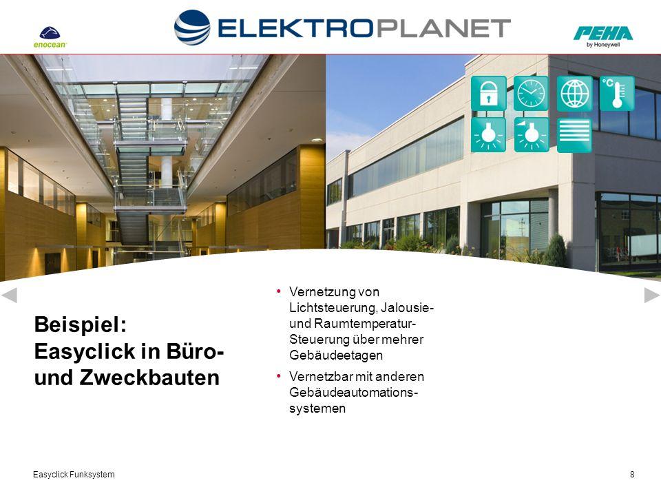 Easyclick Funksystem8 Beispiel: Easyclick in Büro- und Zweckbauten Vernetzung von Lichtsteuerung, Jalousie- und Raumtemperatur- Steuerung über mehrer