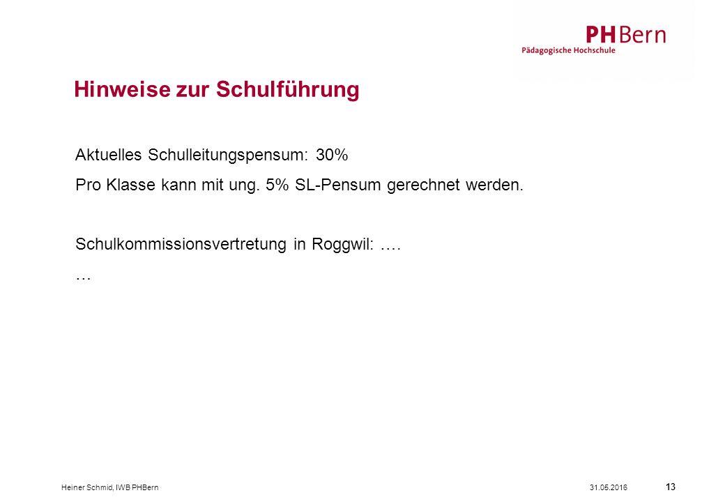 31.05.2016Heiner Schmid, IWB PHBern 13 Aktuelles Schulleitungspensum: 30% Pro Klasse kann mit ung. 5% SL-Pensum gerechnet werden. Schulkommissionsvert