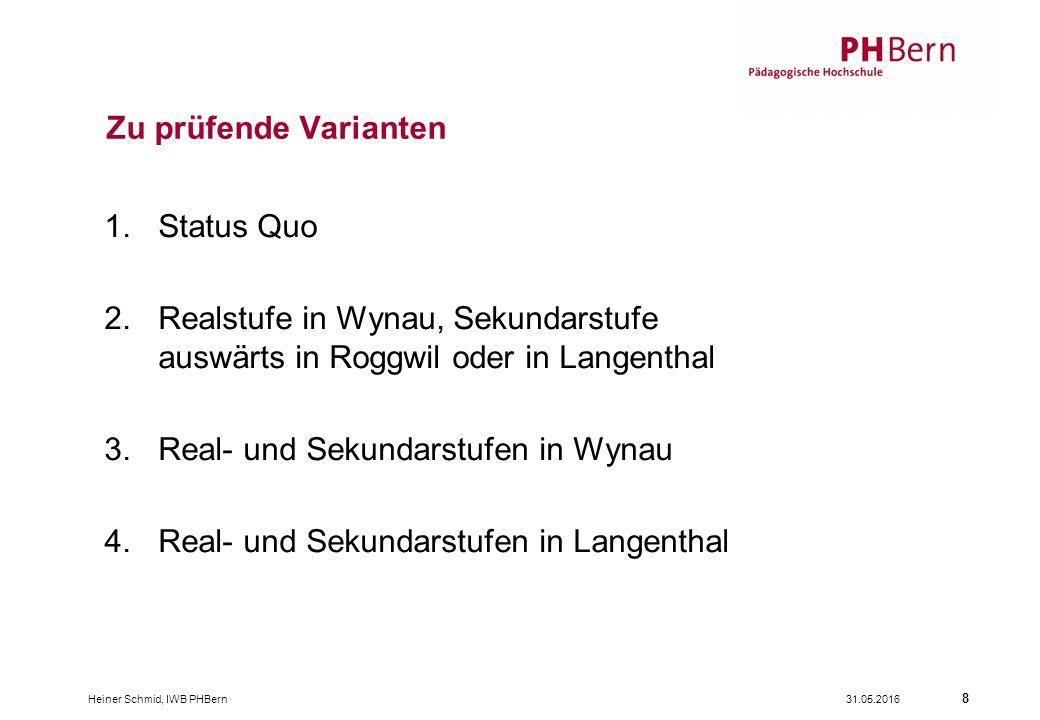 31.05.2016Heiner Schmid, IWB PHBern 8 1.Status Quo 2.Realstufe in Wynau, Sekundarstufe auswärts in Roggwil oder in Langenthal 3.Real- und Sekundarstufen in Wynau 4.Real- und Sekundarstufen in Langenthal Zu prüfende Varianten