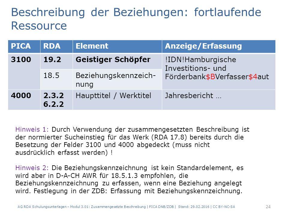 Beschreibung der Beziehungen: fortlaufende Ressource PICARDAElementAnzeige/Erfassung 310019.2Geistiger Schöpfer!IDN!Hamburgische Investitions- und Förderbank$BVerfasser$4aut 18.5Beziehungskennzeich- nung 40002.3.2 6.2.2 Haupttitel / WerktitelJahresbericht … AG RDA Schulungsunterlagen – Modul 3.01: Zusammengesetzte Beschreibung | PICA DNB/ZDB | Stand: 29.02.2016 | CC BY-NC-SA 24 Hinweis 1: Durch Verwendung der zusammengesetzten Beschreibung ist der normierter Sucheinstieg für das Werk (RDA 17.8) bereits durch die Besetzung der Felder 3100 und 4000 abgedeckt (muss nicht ausdrücklich erfasst werden) .