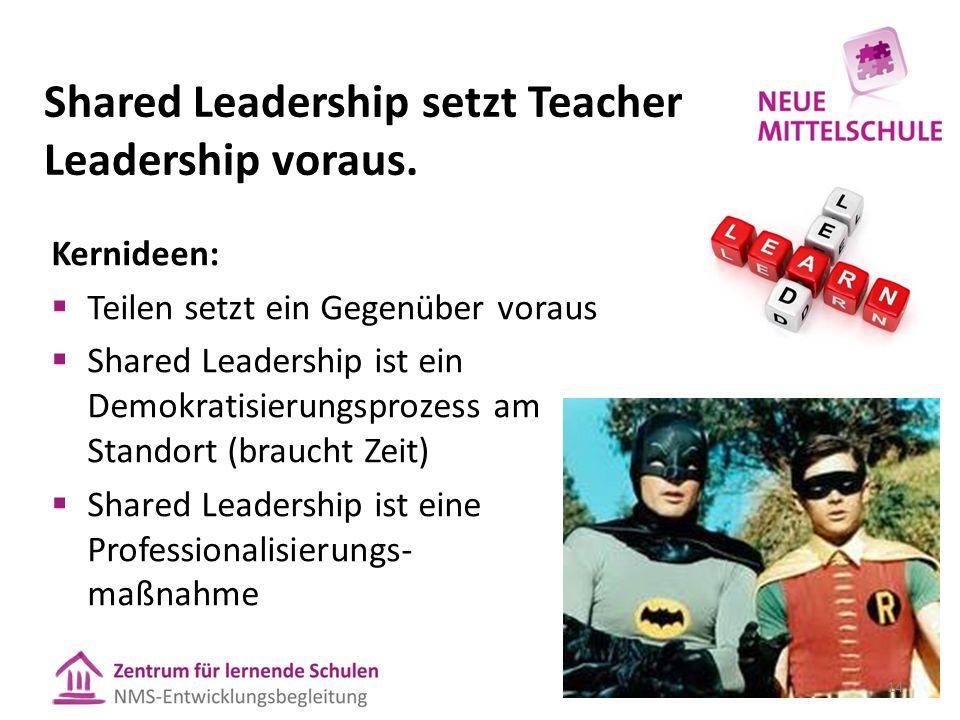 Shared Leadership setzt Teacher Leadership voraus. Kernideen:  Teilen setzt ein Gegenüber voraus  Shared Leadership ist ein Demokratisierungsprozess