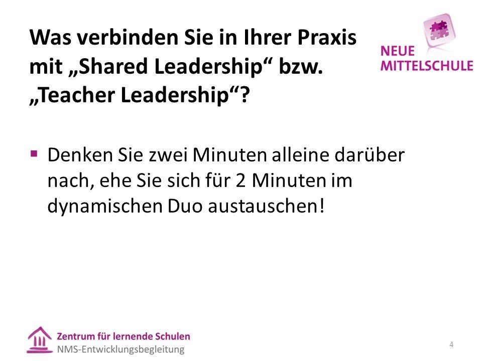 """Was verbinden Sie in Ihrer Praxis mit """"Shared Leadership"""" bzw. """"Teacher Leadership""""?  Denken Sie zwei Minuten alleine darüber nach, ehe Sie sich für"""