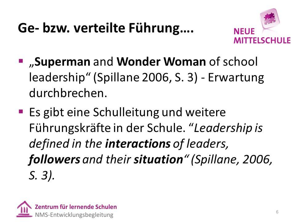 """Ge- bzw. verteilte Führung….  """"Superman and Wonder Woman of school leadership"""" (Spillane 2006, S. 3) - Erwartung durchbrechen.  Es gibt eine Schulle"""