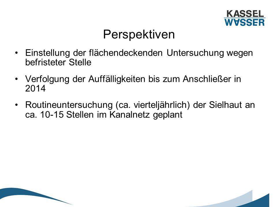Perspektiven Einstellung der flächendeckenden Untersuchung wegen befristeter Stelle Verfolgung der Auffälligkeiten bis zum Anschließer in 2014 Routine