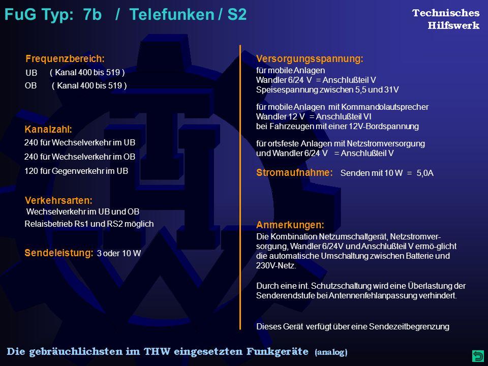 FuG Typ: 7b / Telefunken / S2 Frequenzbereich: ( Kanal 400 bis 519 ) UB ( Kanal 400 bis 519 )OB Kanalzahl: 240 für Wechselverkehr im UB 120 für Gegenverkehr im UB Verkehrsarten: Sendeleistung: 3 oder 10 W Versorgungsspannung: Stromaufnahme: Senden mit 10 W = 5,0A für mobile Anlagen Wandler 6/24 V = Anschlußteil V Speisespannung zwischen 5,5 und 31V Wechselverkehr im UB und OB Relaisbetrieb Rs1 und RS2 möglich Dieses Gerät verfügt über eine Sendezeitbegrenzung 240 für Wechselverkehr im OB für mobile Anlagen mit Kommandolautsprecher Wandler 12 V = Anschlußteil VI bei Fahrzeugen mit einer 12V-Bordspannung für ortsfeste Anlagen mit Netzstromversorgung und Wandler 6/24 V = Anschlußteil V Anmerkungen: Die Kombination Netzumschaltgerät, Netzstromver- sorgung, Wandler 6/24V und Anschlußteil V ermö-glicht die automatische Umschaltung zwischen Batterie und 230V-Netz.