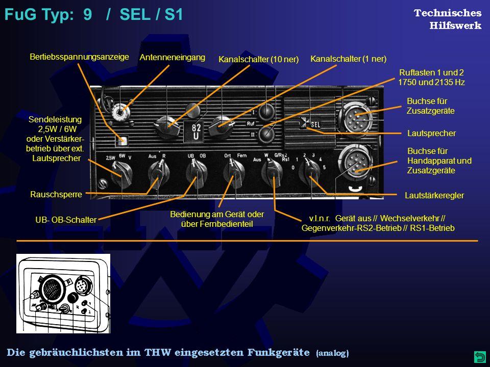 FuG Typ: 9 / SEL / S1 Bertiebsspannungsanzeige Antenneneingang Kanalschalter (10 ner) Kanalschalter (1 ner) Ruftasten 1 und 2 1750 und 2135 Hz Buchse für Zusatzgeräte Buchse für Handapparat und Zusatzgeräte Lautstärkeregler Lautsprecher Rauschsperre UB- OB-Schalter Sendeleistung 2,5W / 6W oder Verstärker- betrieb über ext.