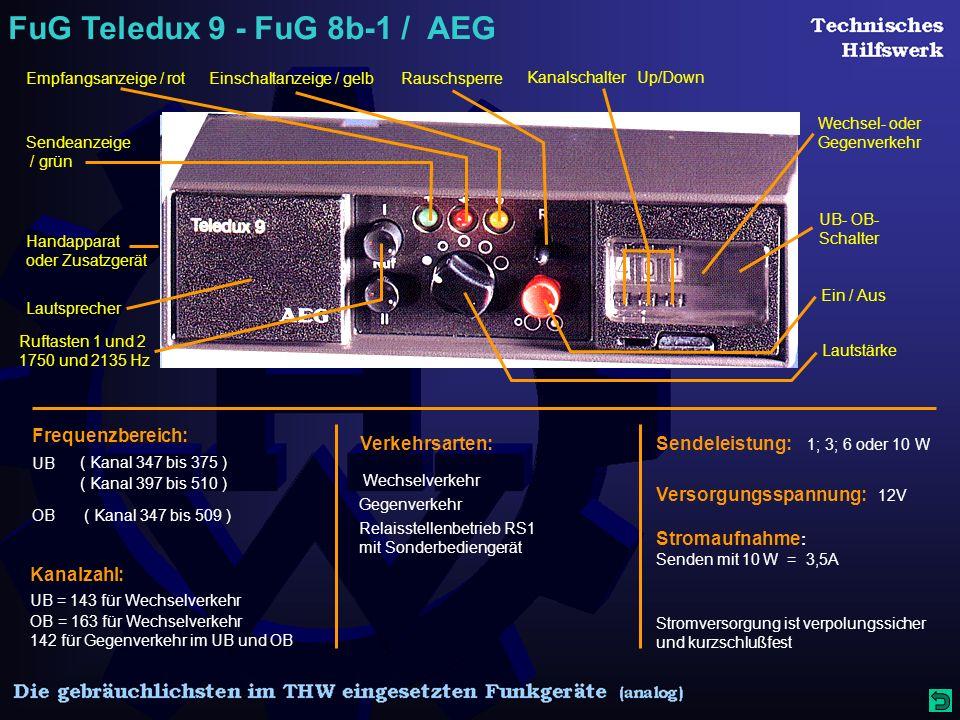 FuG Teledux 9 - FuG 8b-1 / AEG Sendeanzeige / grün Empfangsanzeige / rotEinschaltanzeige / gelbRauschsperre Ein / Aus Lautstärke Ruftasten 1 und 2 1750 und 2135 Hz Lautsprecher Handapparat oder Zusatzgerät Wechsel- oder Gegenverkehr UB- OB- Schalter Kanalschalter Up/Down Frequenzbereich: ( Kanal 347 bis 375 ) UB ( Kanal 347 bis 509 )OB Kanalzahl: UB = 143 für Wechselverkehr OB = 163 für Wechselverkehr ( Kanal 397 bis 510 ) 142 für Gegenverkehr im UB und OB Verkehrsarten: Relaisstellenbetrieb RS1 mit Sonderbediengerät Gegenverkehr Wechselverkehr Sendeleistung: 1; 3; 6 oder 10 W Versorgungsspannung: 12V Stromaufnahme : Senden mit 10 W = 3,5A Stromversorgung ist verpolungssicher und kurzschlußfest