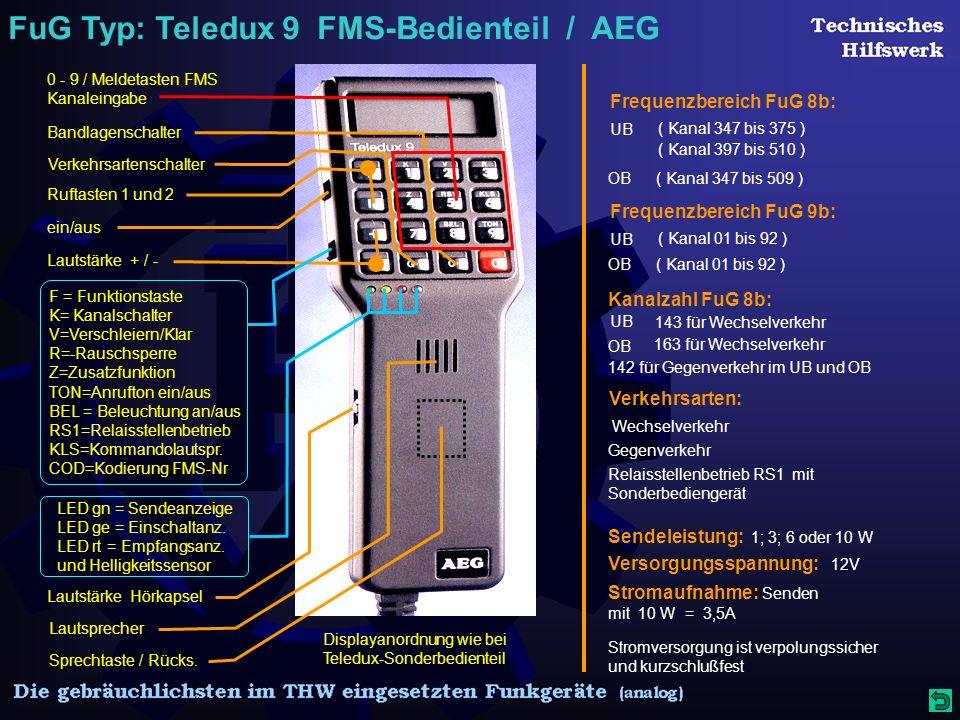 FuG Typ: Teledux 9 FMS-Bedienteil / AEG Displayanordnung wie bei Teledux-Sonderbedienteil Frequenzbereich FuG 8b: ( Kanal 347 bis 375 ) UB OB ( Kanal 397 bis 510 ) ( Kanal 347 bis 509 ) Frequenzbereich FuG 9b: ( Kanal 01 bis 92 ) UB OB( Kanal 01 bis 92 ) Kanalzahl FuG 8b: 143 für Wechselverkehr 163 für Wechselverkehr 142 für Gegenverkehr im UB und OB UB OB Sendeleistung: 1; 3; 6 oder 10 W Versorgungsspannung: 12V Stromaufnahme: Senden mit 10 W = 3,5A Stromversorgung ist verpolungssicher und kurzschlußfest Verkehrsarten: Relaisstellenbetrieb RS1 mit Sonderbediengerät Gegenverkehr Wechselverkehr Lautstärke + / - F = Funktionstaste K= Kanalschalter V=Verschleiern/Klar R=-Rauschsperre Z=Zusatzfunktion TON=Anrufton ein/aus BEL = Beleuchtung an/aus RS1=Relaisstellenbetrieb KLS=Kommandolautspr.