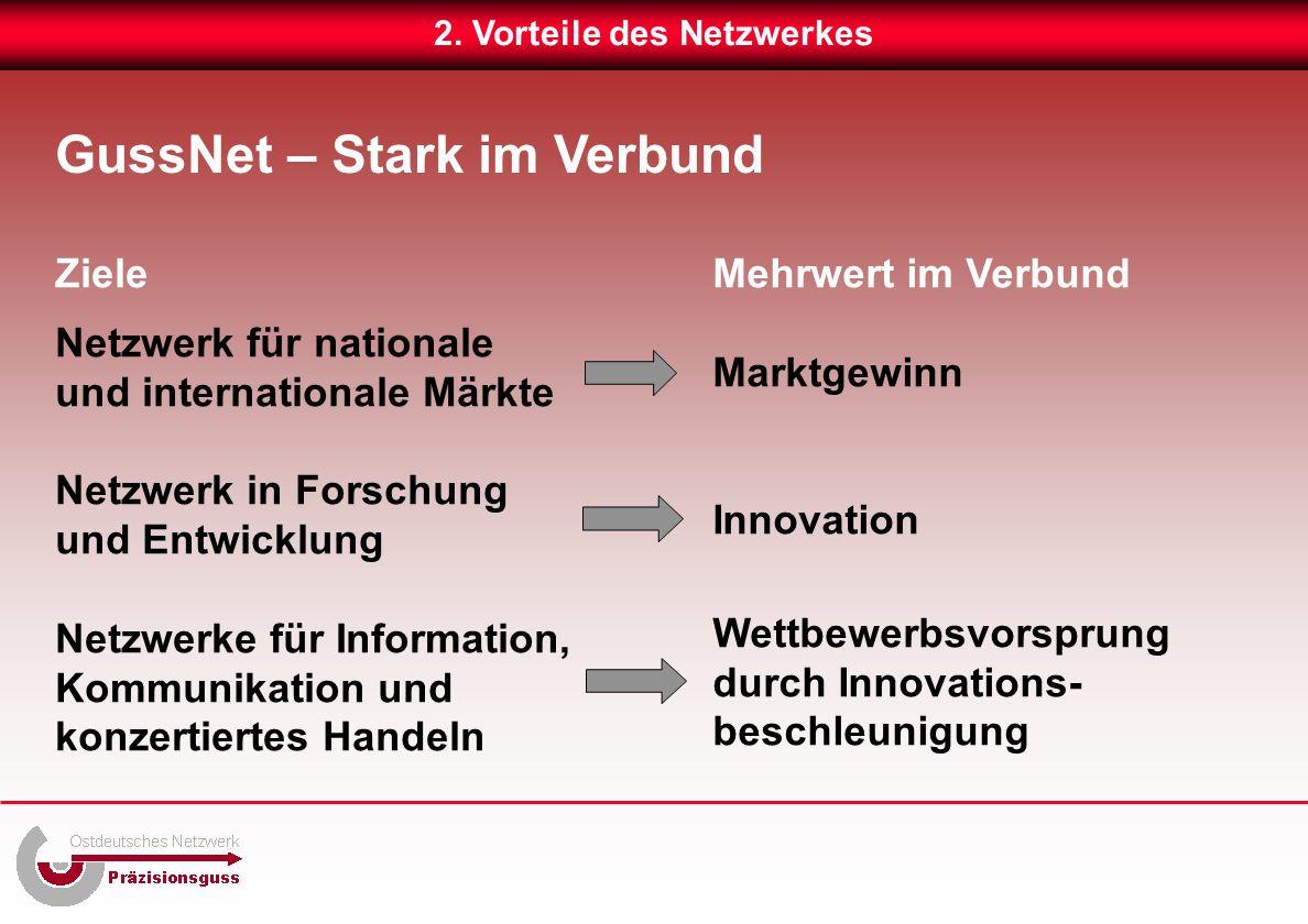 Ziele Netzwerk für nationale und internationale Märkte Netzwerk in Forschung und Entwicklung Netzwerke für Information, Kommunikation und konzertiertes Handeln Mehrwert im Verbund Marktgewinn Innovation Wettbewerbsvorsprung durch Innovations- beschleunigung GussNet – Stark im Verbund 2.