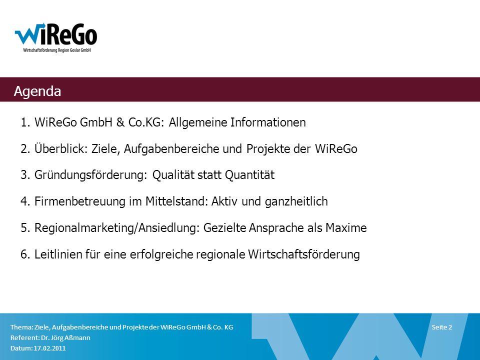 Wirtschaftsförderung Region Goslar GmbH Klubgartenstraße 5 38640 Goslar Fon (0 53 21) 7 67 00 Fax (0 53 21) 7 67 99 E-Mail info@wirego.de Thema: Ziele, Aufgabenbereiche und Projekte der WiReGo GmbH & Co.