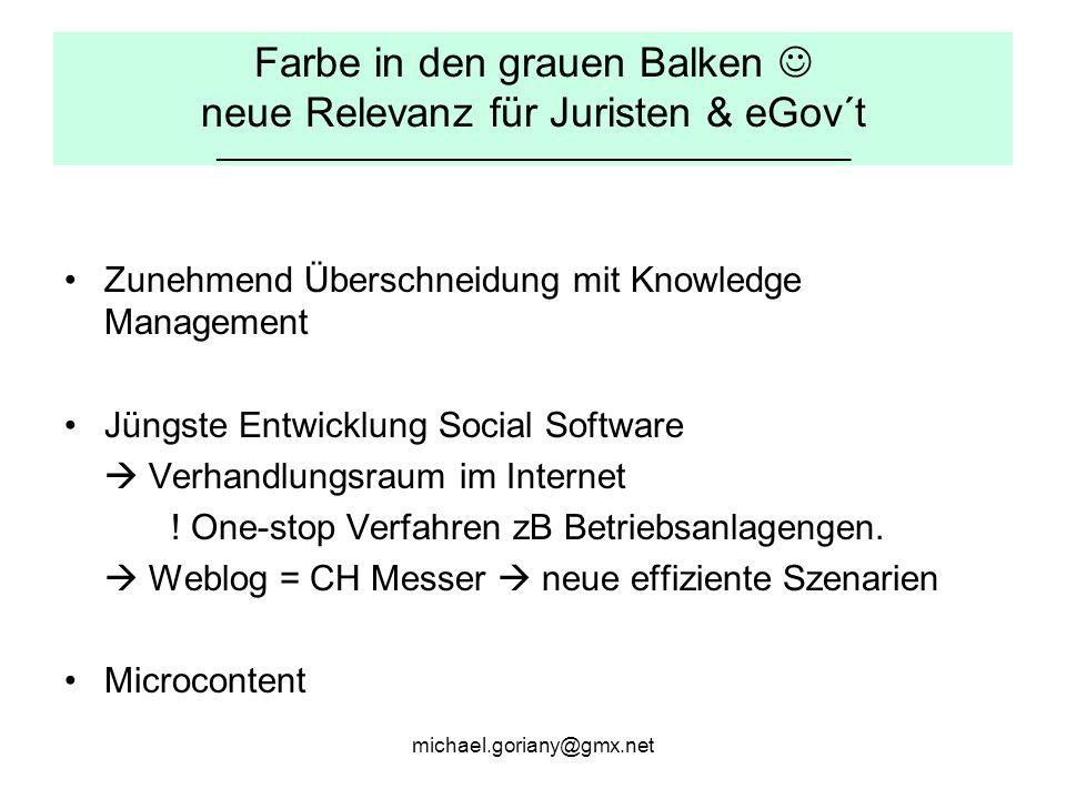 michael.goriany@gmx.net Farbe in den grauen Balken neue Relevanz für Juristen & eGov´t _______________________________________________________ Zunehmend Überschneidung mit Knowledge Management Jüngste Entwicklung Social Software  Verhandlungsraum im Internet .