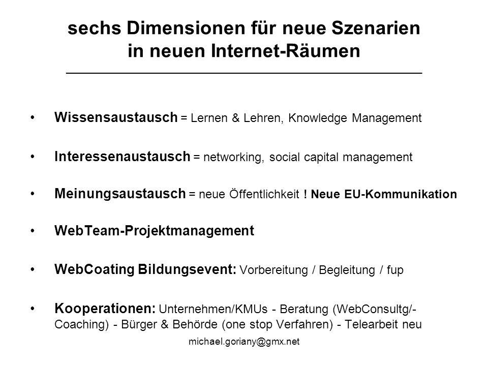 michael.goriany@gmx.net sechs Dimensionen für neue Szenarien in neuen Internet-Räumen ___________________________________________________________ Wissensaustausch = Lernen & Lehren, Knowledge Management Interessenaustausch = networking, social capital management Meinungsaustausch = neue Öffentlichkeit .