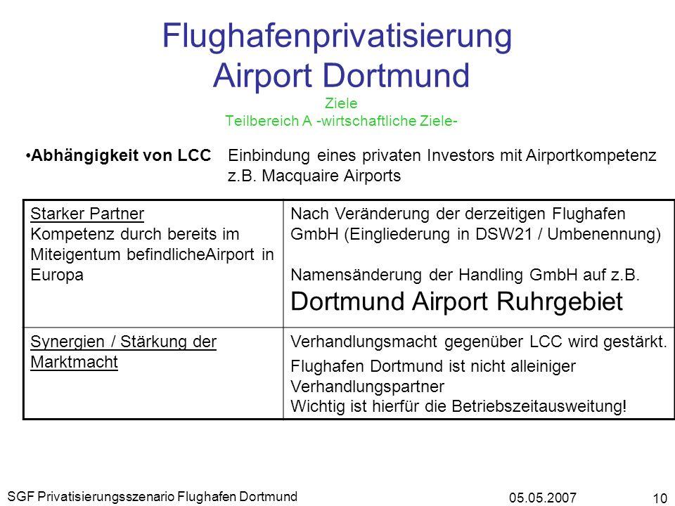 05.05.2007 SGF Privatisierungsszenario Flughafen Dortmund 10 Flughafenprivatisierung Airport Dortmund Ziele Teilbereich A -wirtschaftliche Ziele- Abhä