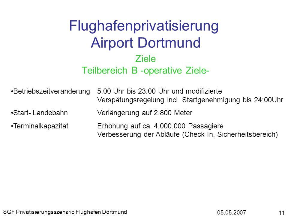 05.05.2007 SGF Privatisierungsszenario Flughafen Dortmund 11 Flughafenprivatisierung Airport Dortmund Ziele Teilbereich B -operative Ziele- Betriebsze