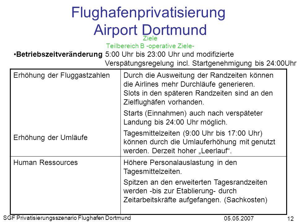 05.05.2007 SGF Privatisierungsszenario Flughafen Dortmund 12 Flughafenprivatisierung Airport Dortmund Ziele Teilbereich B -operative Ziele- Betriebsze