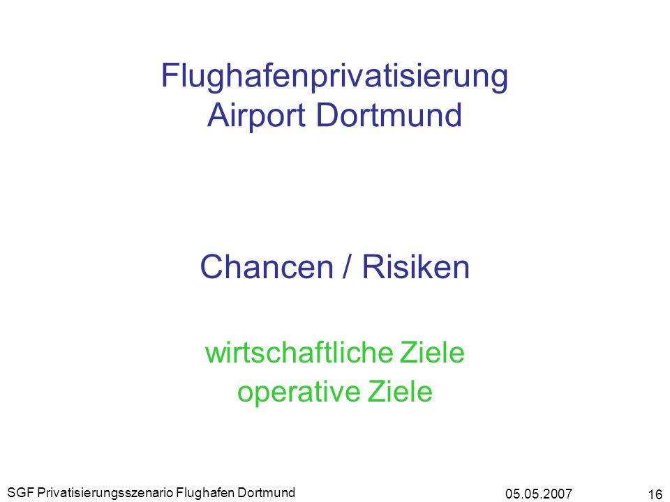 05.05.2007 SGF Privatisierungsszenario Flughafen Dortmund 16 Flughafenprivatisierung Airport Dortmund Chancen / Risiken wirtschaftliche Ziele operativ