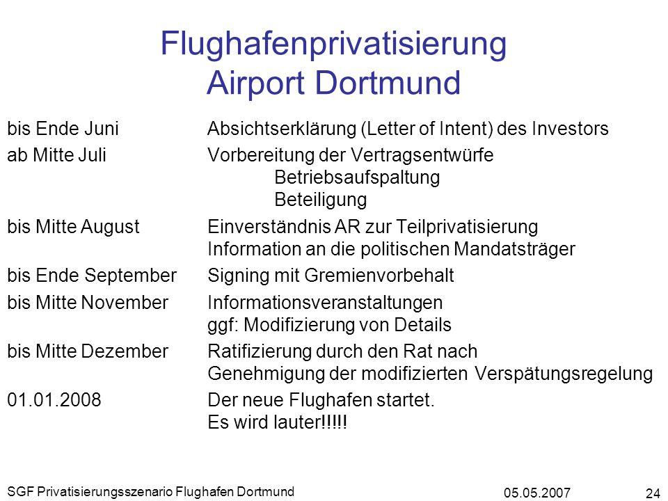 05.05.2007 SGF Privatisierungsszenario Flughafen Dortmund 24 Flughafenprivatisierung Airport Dortmund bis Ende JuniAbsichtserklärung (Letter of Intent