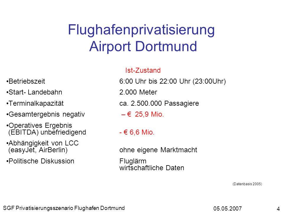 05.05.2007 SGF Privatisierungsszenario Flughafen Dortmund 4 Flughafenprivatisierung Airport Dortmund Ist-Zustand Betriebszeit 6:00 Uhr bis 22:00 Uhr (