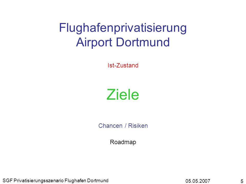 05.05.2007 SGF Privatisierungsszenario Flughafen Dortmund 5 Flughafenprivatisierung Airport Dortmund Ist-Zustand Ziele Chancen / Risiken Roadmap