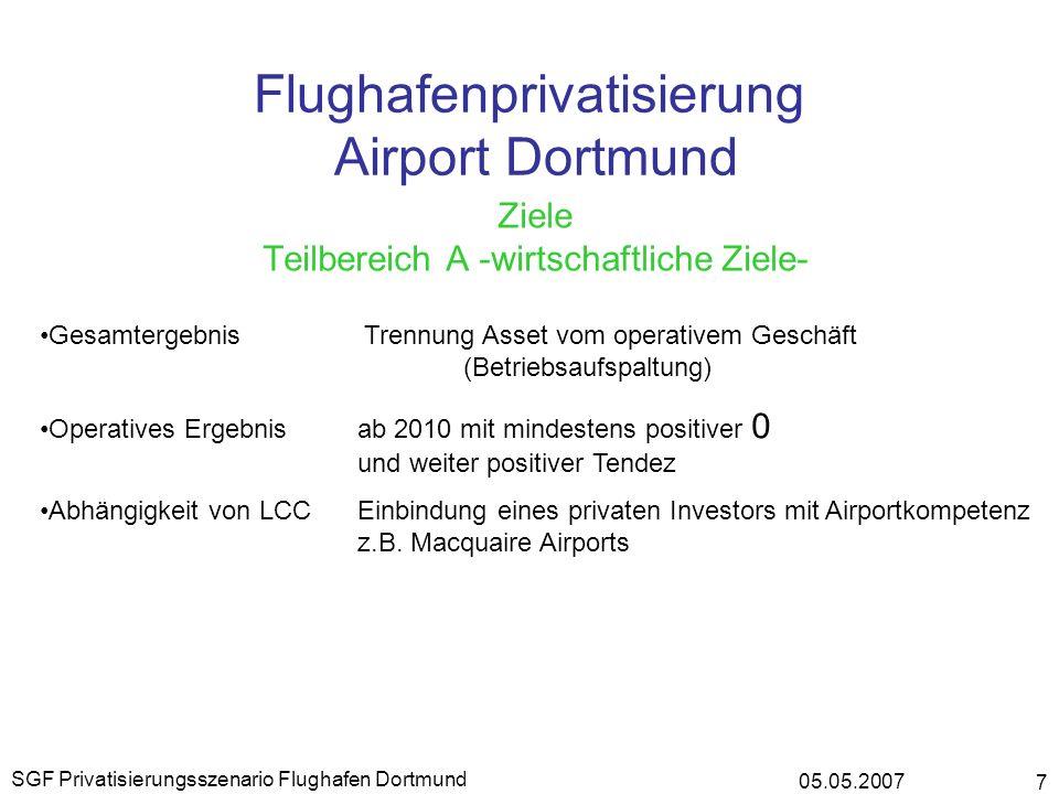05.05.2007 SGF Privatisierungsszenario Flughafen Dortmund 7 Flughafenprivatisierung Airport Dortmund Ziele Teilbereich A -wirtschaftliche Ziele- Gesam