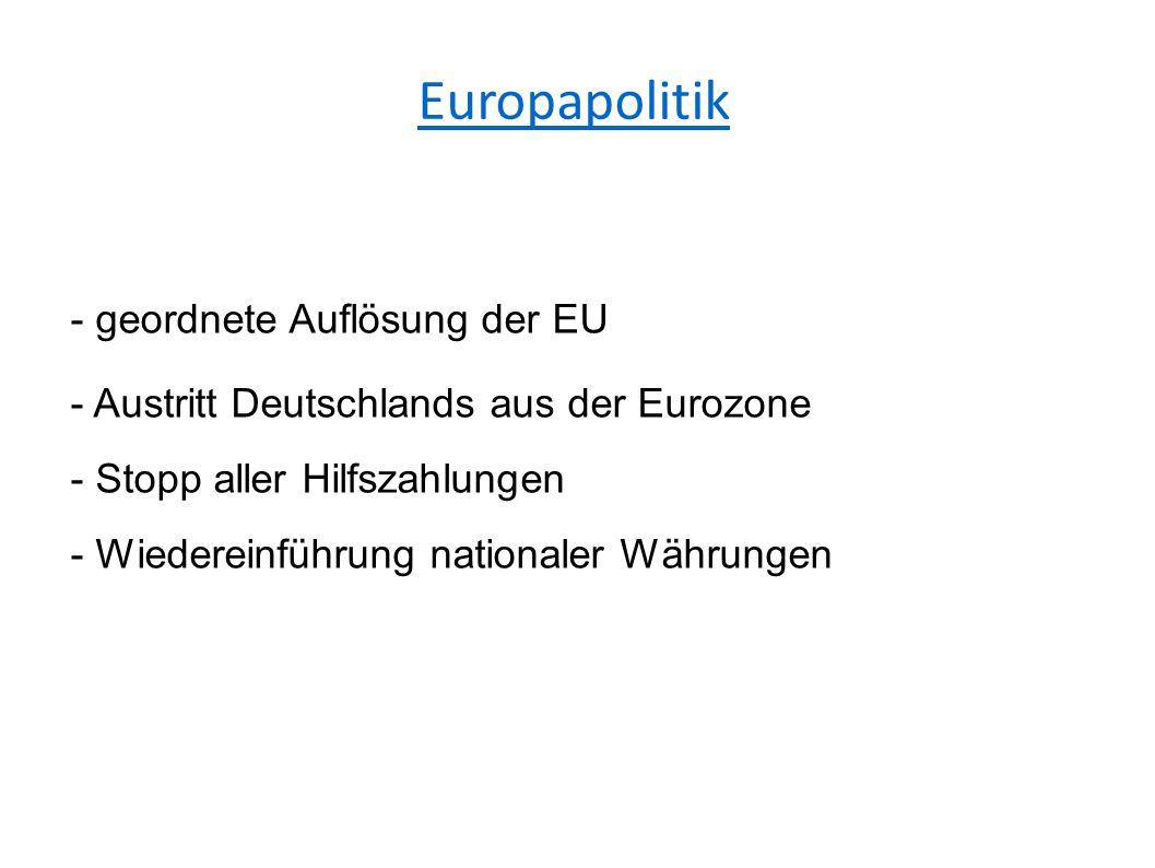 Europapolitik - geordnete Auflösung der EU - Austritt Deutschlands aus der Eurozone - Stopp aller Hilfszahlungen - Wiedereinführung nationaler Währungen