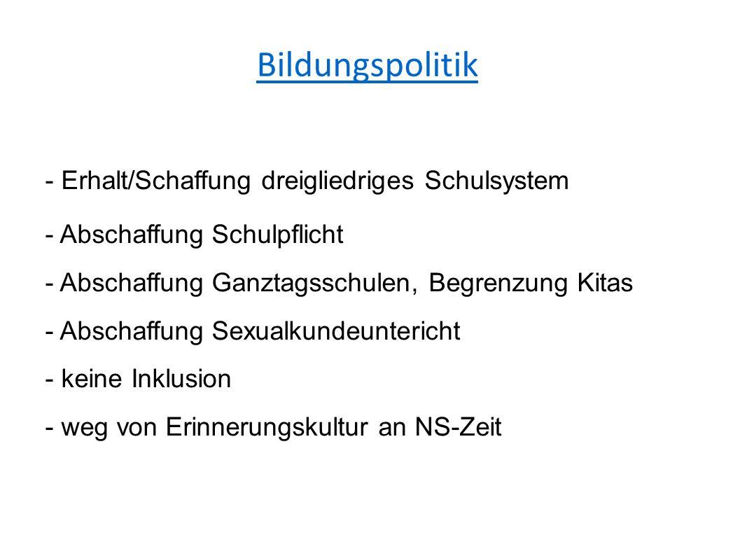 Bildungspolitik - Erhalt/Schaffung dreigliedriges Schulsystem - Abschaffung Schulpflicht - Abschaffung Ganztagsschulen, Begrenzung Kitas - Abschaffung