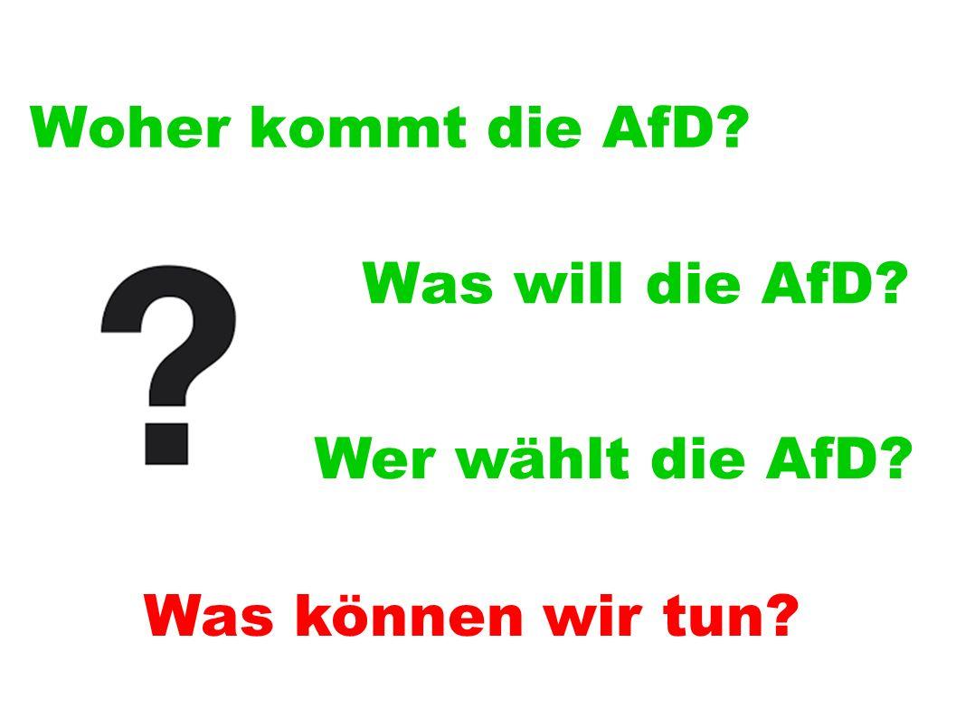 Woher kommt die AfD Was will die AfD Wer wählt die AfD Was können wir tun