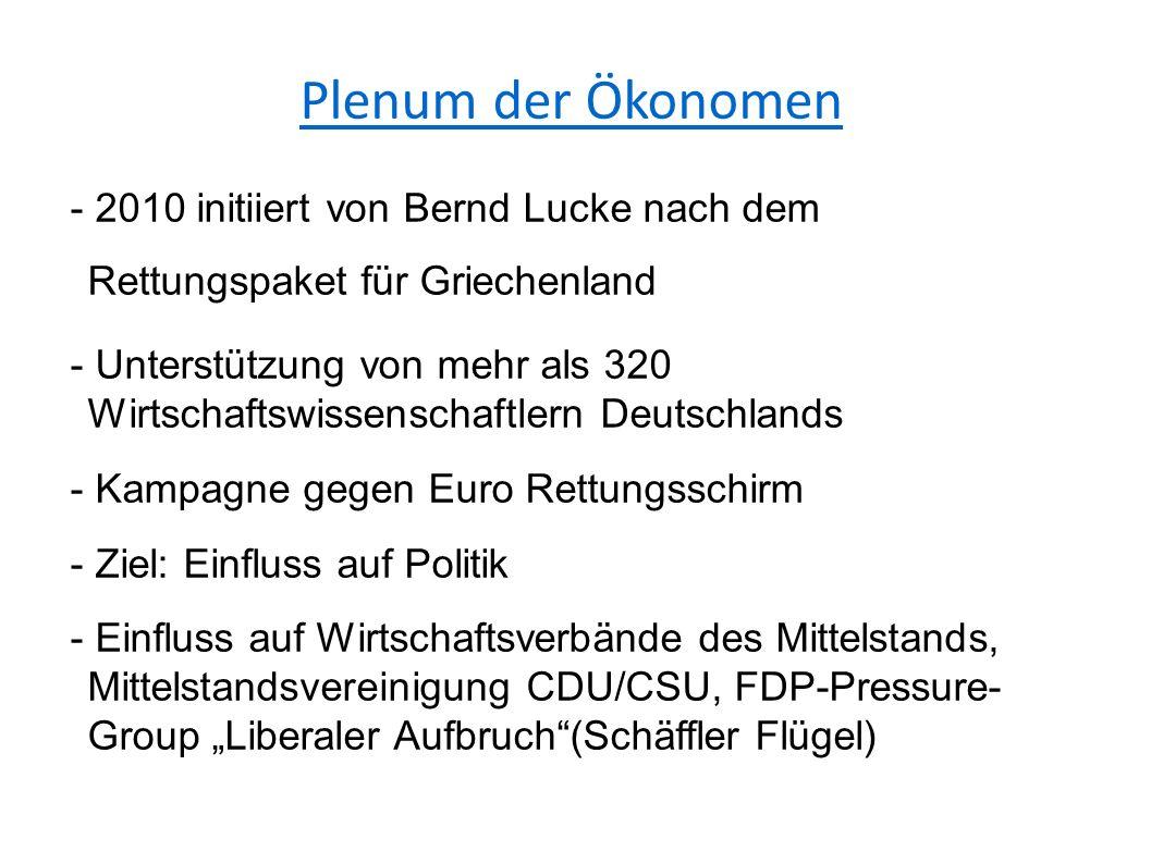"""Plenum der Ökonomen - 2010 initiiert von Bernd Lucke nach dem Rettungspaket für Griechenland - Unterstützung von mehr als 320 Wirtschaftswissenschaftlern Deutschlands - Kampagne gegen Euro Rettungsschirm - Ziel: Einfluss auf Politik - Einfluss auf Wirtschaftsverbände des Mittelstands, Mittelstandsvereinigung CDU/CSU, FDP-Pressure- Group """"Liberaler Aufbruch (Schäffler Flügel)"""