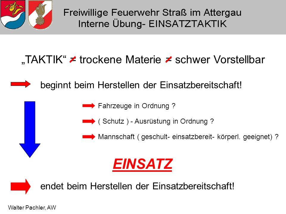"""Walter Pachler, AW """"TAKTIK = trockene Materie = schwer Vorstellbar beginnt beim Herstellen der Einsatzbereitschaft."""