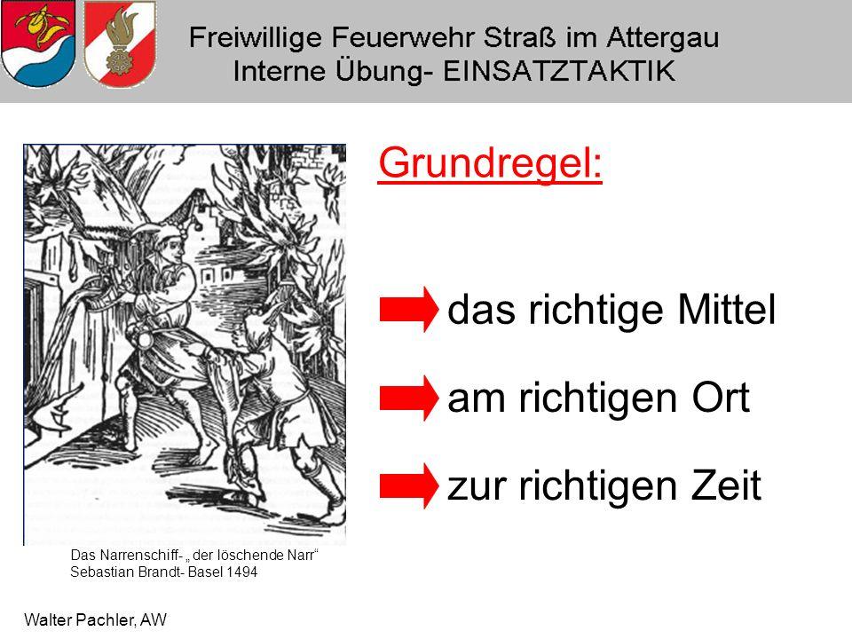 Walter Pachler, AW Wichtig : BEI EINSÄTZEN IST DAS BEIBEHALTEN DER ZUGEWIESENEN AUFGABEN PFLICHT.